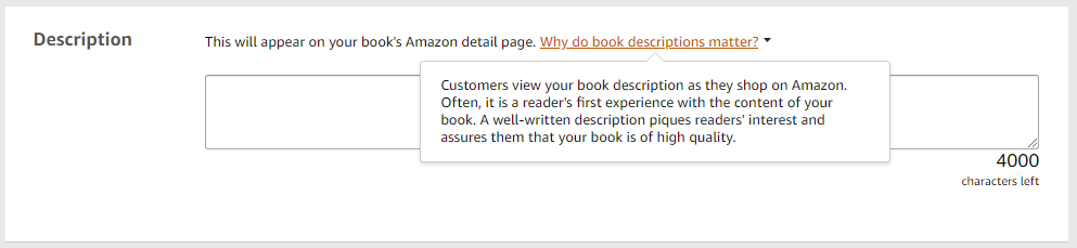 Kindle book blurb text area